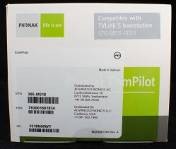 Fancy Advanced Bionics label on the Phonak ComPilot box